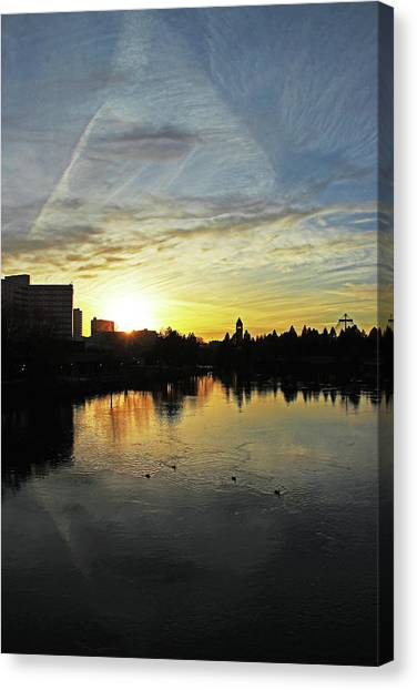 Pacific Division Canvas Print - River City Sunset 4196 by Donald Sewell