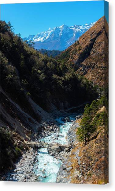 Canvas Print featuring the photograph River Crossing By Tengboche by Owen Weber