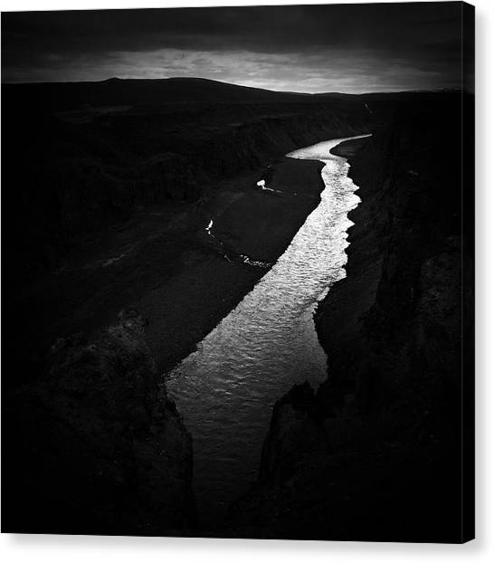 Landscapes Canvas Print - River In The Dark In Iceland by Matthias Hauser