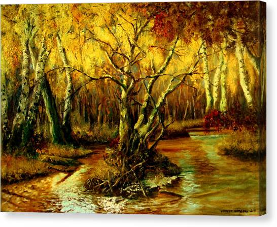 Mossy Forest Canvas Print - River In The Forest by Henryk Gorecki