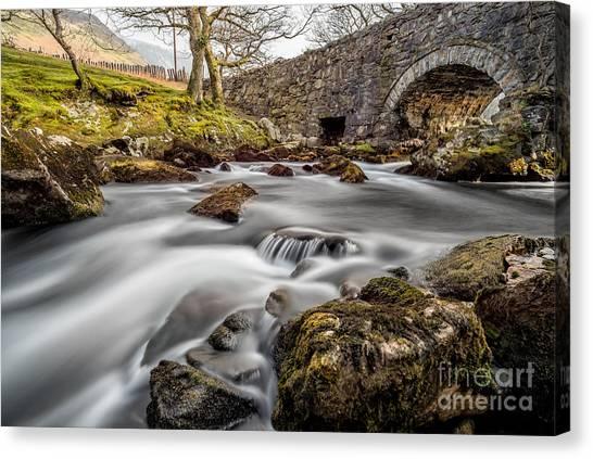 Ogwen Canvas Print - River Ogwen Bridge by Adrian Evans