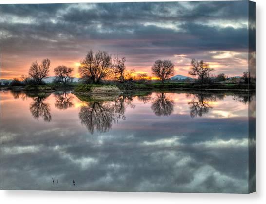 River Reflection Sunrise Canvas Print