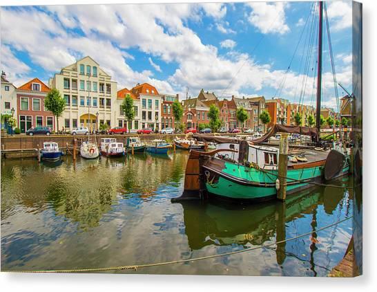 River Scene In Rotterdam Canvas Print