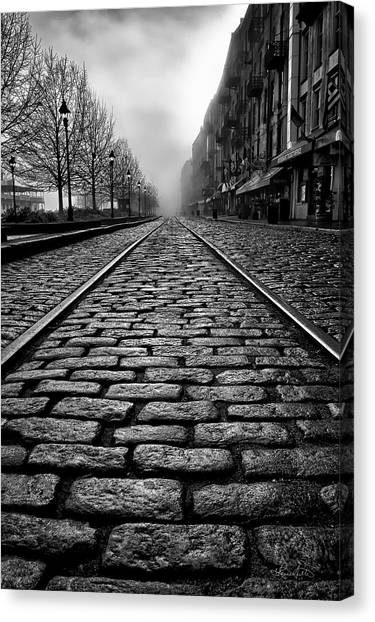 River Street Railway - Black And White Canvas Print