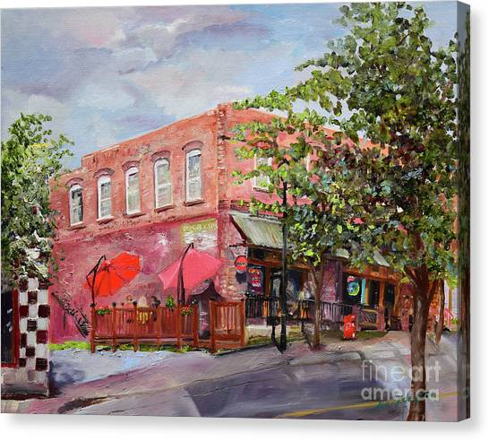 Canvas Print featuring the painting River Street Tavern-ellijay, Ga - Cheers by Jan Dappen