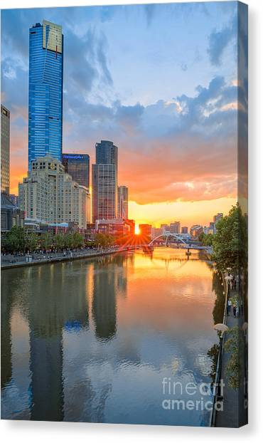 Canvas Print featuring the photograph River Sunset by Ray Warren