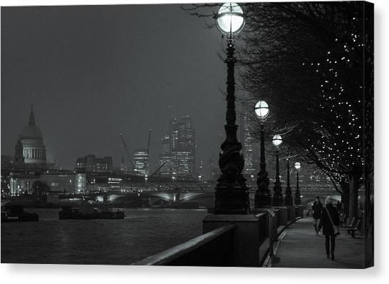 River Thames Embankment, London 2 Canvas Print