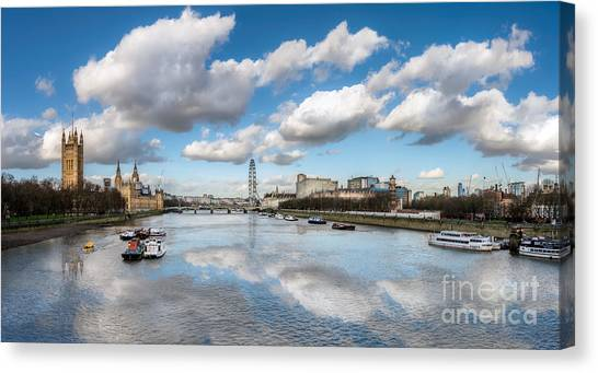 Palace Of Westminster Canvas Print - River Thames London by Adrian Evans