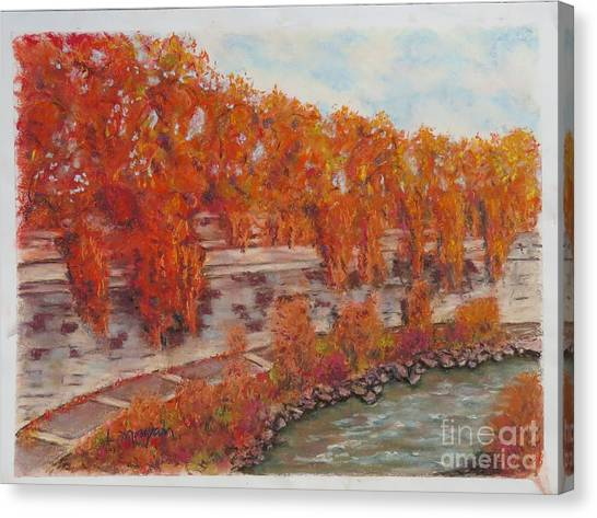 River Tiber In Fall Canvas Print