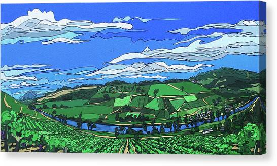 Canvas Print featuring the painting River Valley Vineyard by John Gibbs