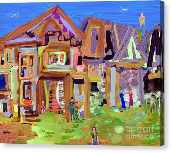River Village Morning Canvas Print