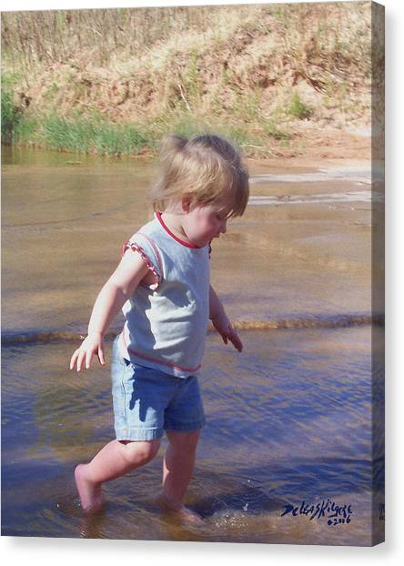 Canvas Print featuring the photograph River Wading by Deleas Kilgore