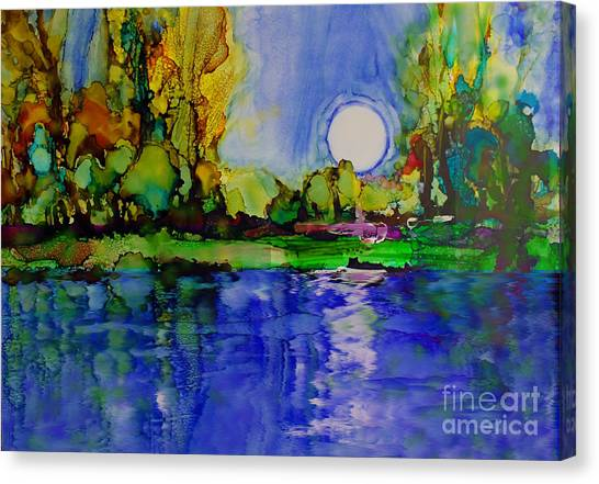 Canvas Print featuring the painting River Walk by Priti Lathia