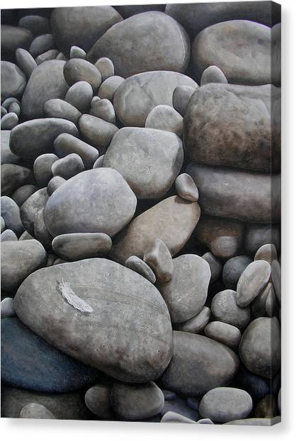 Grey Canvas Print - Riverbank Of Napo by Laine Garrido