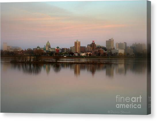 Riverfront At Dusk Canvas Print by Debra Straub