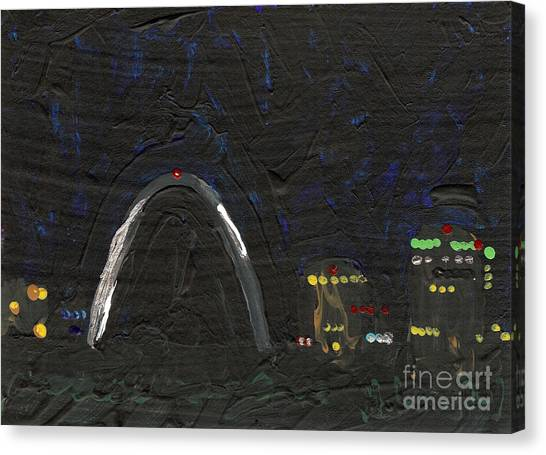 Gateway Arch Canvas Print - Riverfront At Night 4 by Helena M Langley