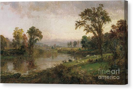 Meadow Canvas Print - Riverscape In Early Autumn by Jasper Francis Cropsey