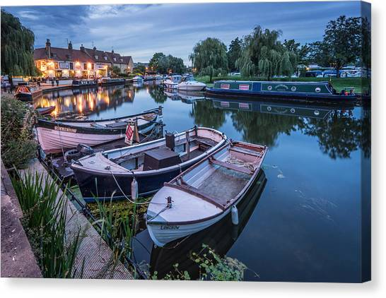 Canvas Print featuring the photograph Riverside By Night by James Billings