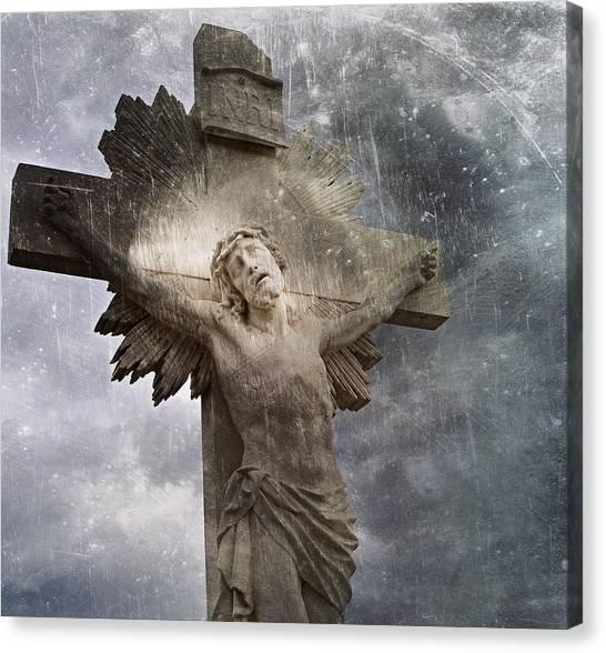 Riverside Cemetery Cross Canvas Print