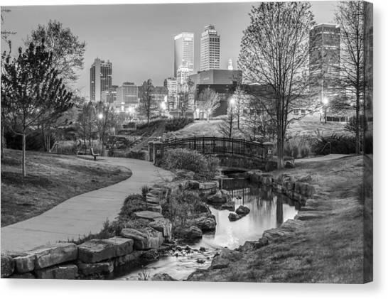 Centennial Canvas Print - Riverwalk To The Tulsa Oklahoma Skyline Black And White by Gregory Ballos
