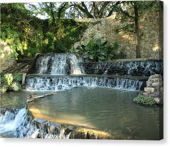 Riverwalk Waterfall Canvas Print by Dennis Stein