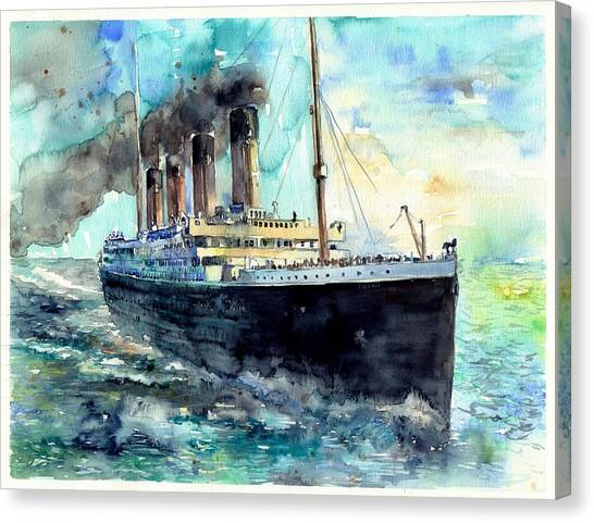 Museums Canvas Print - Rms Titanic White Star Line Ship by Suzann's Art