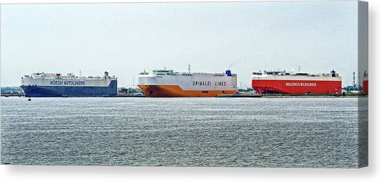 Canvas Print featuring the photograph Ro Ro Freighters Lined Up At Curtis Bay by Bill Swartwout Fine Art Photography