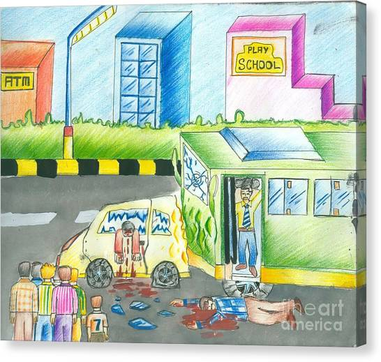 Road Accident Canvas Print by Tanmay Singh