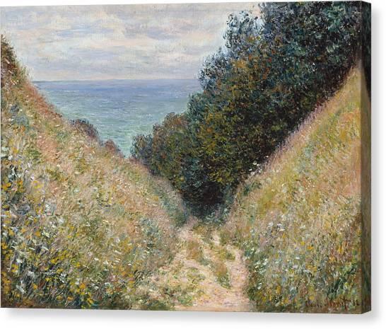 Country Roads Canvas Print - Road At La Cavee Pourville by Claude Monet