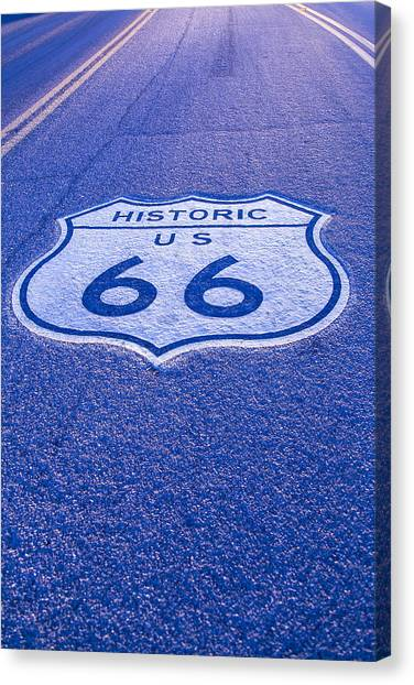 Historic Route 66 Canvas Print - Road Sign Route 66 by Garry Gay