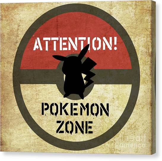 Pokemon Go Canvas Print - Road Signage Pokemon Zone by Irina Effa
