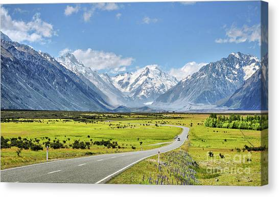 Mountainscape Canvas Print - Road To Aoraki by Delphimages Photo Creations
