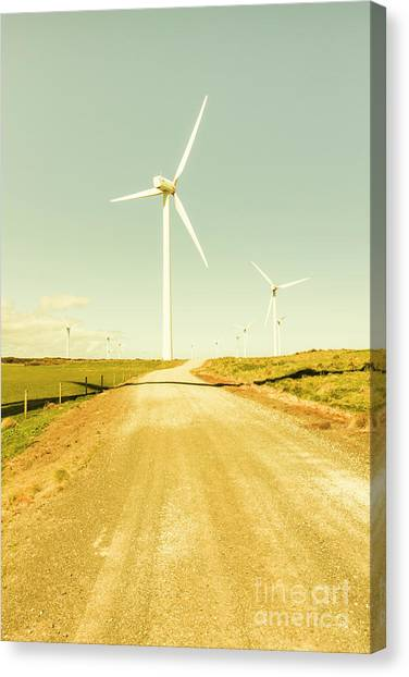 Wind Farms Canvas Print - Road To Green Farming by Jorgo Photography - Wall Art Gallery