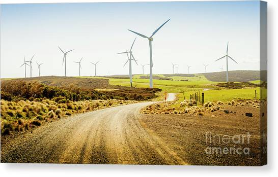 Wind Farms Canvas Print - Road To Natural Energy by Jorgo Photography - Wall Art Gallery