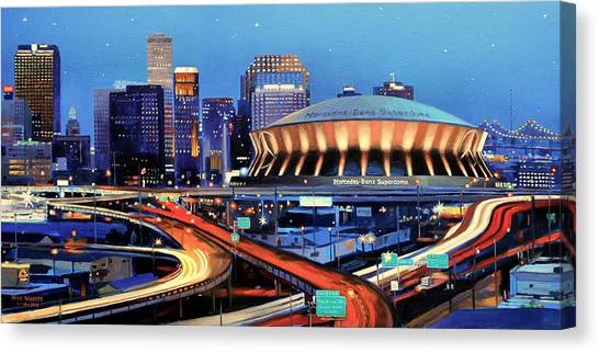 Louisiana State University Lsu Canvas Print - Road To The Dome by Mike Roberts