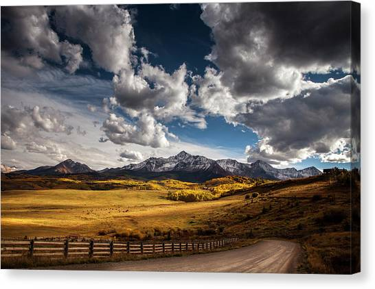 Brown Ranch Trail Canvas Print - Road To The Rockies by Andrew Soundarajan