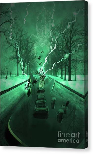 Electric Guitars Canvas Print - Road Trip Effects  by Cathy Beharriell