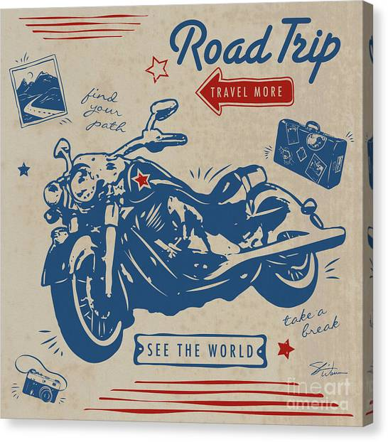 Vintage Polaroid Canvas Print - Road Trip by Shari Warren