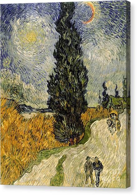 Vincent Van Gogh Canvas Print - Road With Cypresses by Vincent Van Gogh