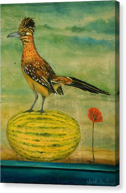 Roadrunner Canvas Print - Roadrunner On A Melon by Leah Saulnier The Painting Maniac
