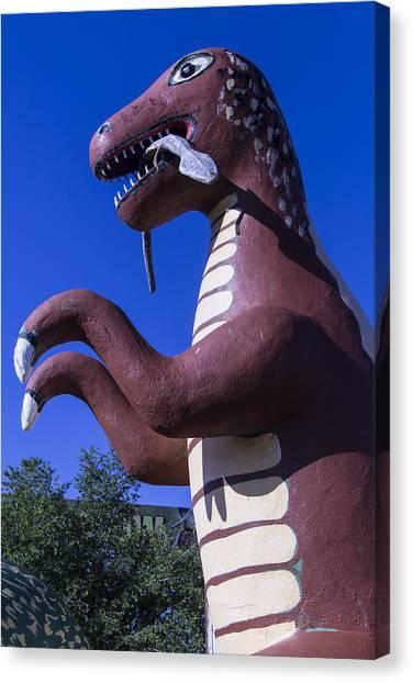Timeworn Canvas Print - Roadside Dinosaur by Garry Gay