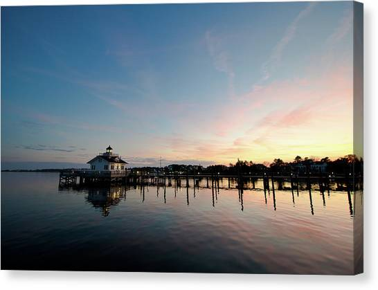 Roanoke Marshes Lighthouse At Dusk Canvas Print