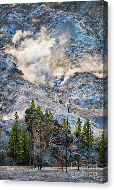 Yellowstone National Park Canvas Print - Roaring Mountain by Delphimages Photo Creations
