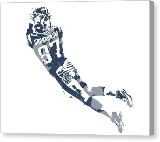 New England Patriots Canvas Print - Rob Gronkowski New England Patriots Pixel Art 10 by Joe Hamilton