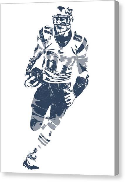 New England Patriots Canvas Print - Rob Gronkowski New England Patriots Pixel Art 11 by Joe Hamilton