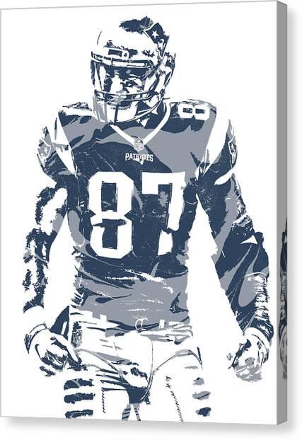 New England Patriots Canvas Print - Rob Gronkowski New England Patriots Pixel Art 12 by Joe Hamilton