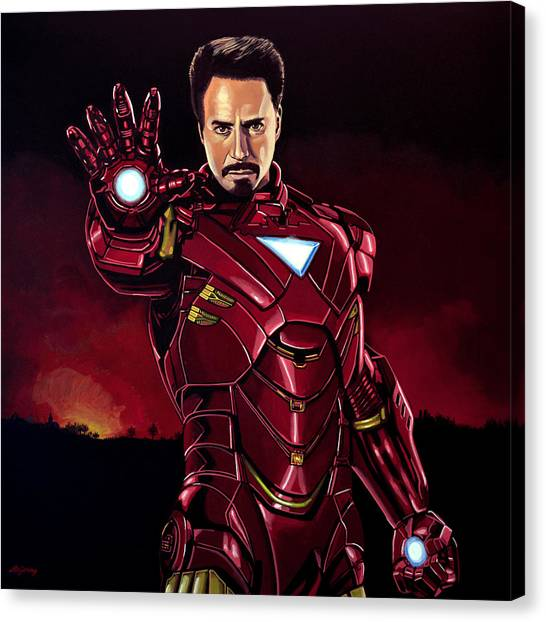 Avengers Canvas Print - Robert Downey Jr. As Iron Man  by Paul Meijering