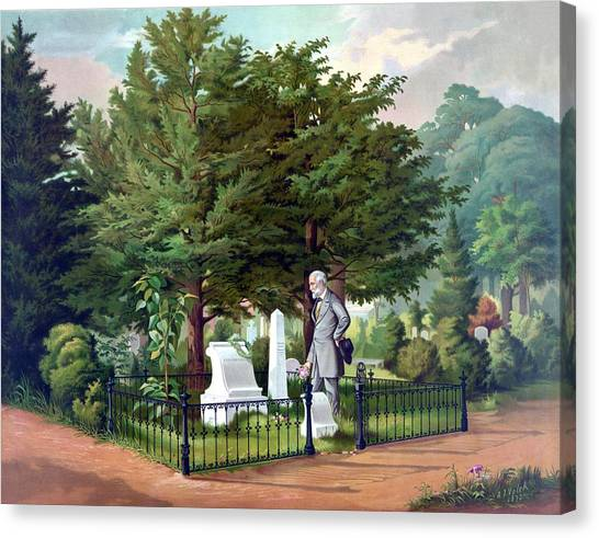 Stonewall Canvas Print - Robert E. Lee Visits Stonewall Jackson's Grave by War Is Hell Store