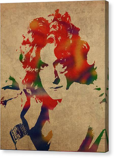Robert Plant Canvas Print - Robert Plant Led Zeppelin Watercolor Portrait by Design Turnpike