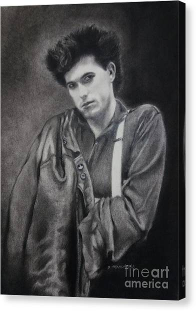 Robert Smith Music Canvas Print - Robert Smith W/ Leather Jacket by Deborah Milano